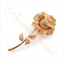 Stunning 18K Gold Plated Rose Brooch Pin with Swarvoski Crystal Elements