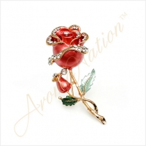 Red and Golden Rose Crystal Rhinestone Pin Brooch