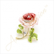 Red Rose Crystal Rhinestone Gold-Tone Brooch Pin