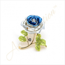 Blue Rose Crystal Rhinestone Gold-Tone Brooch Pin