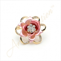 BlooBlooming Rose Flower Crystal Brooch Pin - Pink
