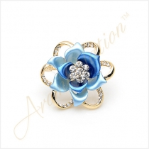 Blooming Rose Flower Crystal Brooch Pin - Blue