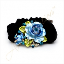 Blue Rose with Sparkling Crystals Black Velvet Hair Tie