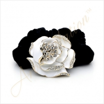 White Crystal Rose Black Velvet Hair Tie