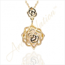 Breathtaking 18K Gold Plated Double Rose Necklace with Sparkling Zirconia Crystal