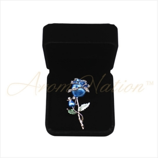 Blue and Golden Rose Crystal Rhinestone Pin Brooch