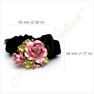 Pink Rose with Sparkling Crystals Black Velvet Hair Tie